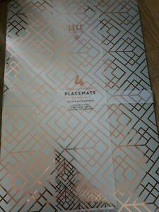 Brand New 8 Deco Glamour 4 Metallic Printed Rose Gold Placemats 2 packs of 4