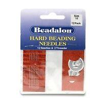 10 /'Beadalon/' Twisted Medium Beading Needles 0.35 mm diameter