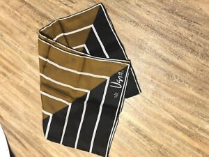Vintage VERA NEUMANN Silk Scarf Geometric Brown Black White