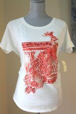 NEW LUCKY BRAND WOM XL PEACOCK TEE TOP SHIRT SUMMER SHORT SL IVORY RED CORAL