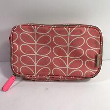 Orla Kiely Etc Stem Cosmetic Case Pink Coral Makeup Bag Double Zipper Travel