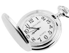 Excellanc Taschenuhr 47mm Weiss/Silber matt mit 31cm Kettte und Sprungdeckel