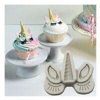 Silicone Unicorn Head Horn Cake Fondant Mold Horse Eye Eyelash Baking DIY Mould