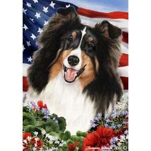 Sheltie Tri Patriotic Flag