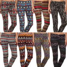 Plus Size Fur Lined Velvet Print Leggings Warm Winter Stretch Fleece 1X 2X 3X 4X