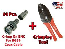 90x Bnc Male Crimp On Cctv Video Connector For Rg59 Coax Cable + Crimp Tool