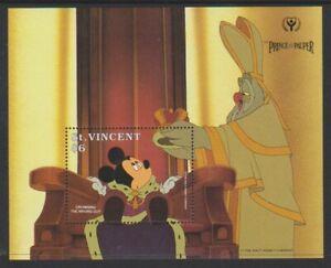 St Vincent - 1991, Prince & The Pauper, Disney, Mickey sheet - MNH - SG MS1789a