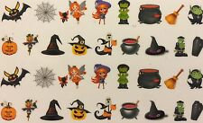 Nail Art Water Decals Halloween Witch Monster Bat Fairy Cat Pumpkin Coffin Broom