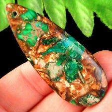 Green Sea Sediment Jasper Gold Copper Bornite Teardrop Pendant Bead S32900