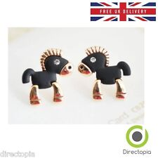 Black Horse Pony Kawaii Stud Earrings