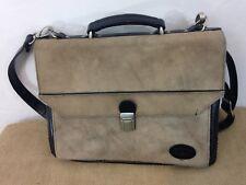 "Stetson 15"" Tan Suede Leather Multi Pocket Messenger Computer Travel Bag"