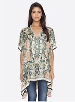 💕JOHNNY WAS Silk SPRINGTIME PONCHO Scarf Butterfly BEADED Cover Up Tunic $278