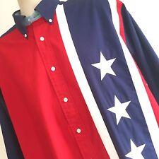 Tommy Hilfiger Flag Patriotic Mens Shirt Sz M Vintage Spell Out Color Block