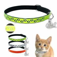 Customized Name Engraved Cat Neck Collar Luminous In The Dark Faux Leather Strap