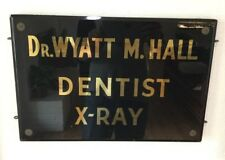 1920's Glass & Wood Dentist Advertising Trade Sign Dr Hall Medical Fort Worth TX