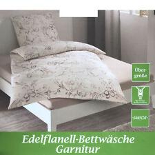 Edel Flanell Bettwäsche Garnitur 155 x 220 cm Baumwolle Reißverschluss