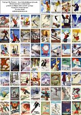 VINTAGE SKI POSTERS -60 ALL DIFFERENT A6 ART CARDS
