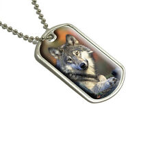Gray Wolf with Fall Background - Military Dog Tag Keychain