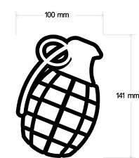 HAND GRENADE DECAL 100MM BY 137MM WHITE VINYL OR HOT PINK(WHITE DEFAULT COLOUR)