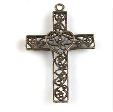 Cross Pendants Steampunk Antiqued Bronze Christian Jesus Heart Lot of 2