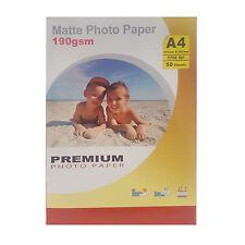 Premium MATE A4 Impresora de inyección Tinta Papel fotográfico 190gsm-50 hojas