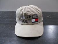 VINTAGE Tommy Hilfiger Hat Cap Strap Back Brown Blue Golf Flag Spell Out Men 90s
