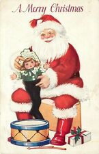 "Santa Claus, ""A Merry Christmas"", Santa With Doll & Drum"