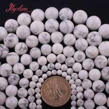 """4-14 mm blanco redondo piedra turquesa howlite suelta granos para joyería haciendo 15""""hágalo usted mismo"""