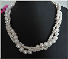 SUPERBE COLLIER 3 RANGS PERLES ROCOCO EAU DOUCE NATURELLES BLANCHES 10MM/5MM