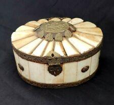 Vintage Trinket Box Tiled Camel Bone and Brass Oval Raised Hinged Lid India