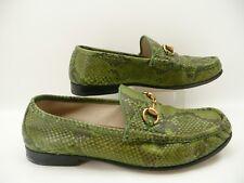 RARE - Gucci Men's Green Black Python Snake Skin Leather Horsebit Loafers Sz 8.5
