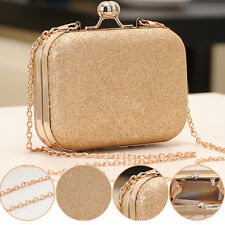 Fashion Lady Women Clutch Box Gold Evening Party Glitter Chain Hand Wallet Bags