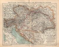 Politische Übersichtskarte von Österreich-Ungarn  historische Landkarte 1885