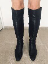 * Overknees Stulpenstiefel Stiefel Schafft aus Echtleder schwarz Gr. 41 * TOP *