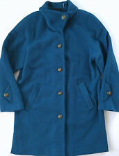 DENNIS BASSO Womens Teal Blue Wool Cashmere Coat Jacket Dress Size M Medium