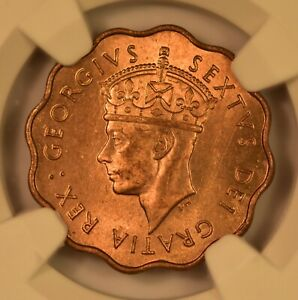 1949 CYPRUS 1/2 PIASTRE, KING GEORGE VI, NGC MS65RD, GEM UNC