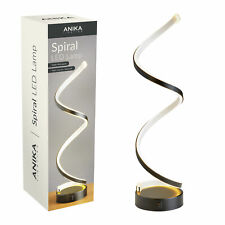 Swirl LED Light Table Lamp Neon Tube Black Frame Modern Design