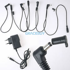 UE Guitarra Effects Pedal Power Supply Adaptador & 6 Way Cable Cords for Boss