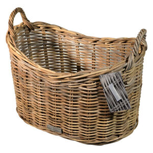 Rattan Scoop Log Basket Kindling Fire Side Kubo Buff Grey Laundry Linen Basket
