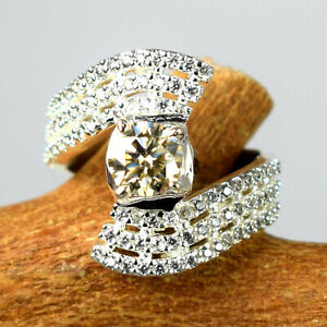 2.62 Ct Champagne Diamond Solitaire With Accents Ring Ideal Engagement Gift