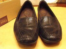 Clarks Women's Haydn Harvest Loafer Flats Shoes Black Lizard Size 8.5 M