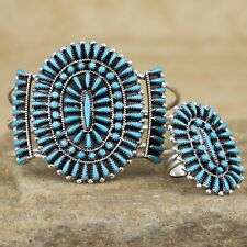 Native American Sterling Silver Turquoise Cluster Bracelet Ring Set Judy Wallace