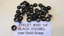 "50 pcs # 300 1/4"" BLACK ENAMELED EYELET SOLID BRASS USA Finish on Brass LEATHER"