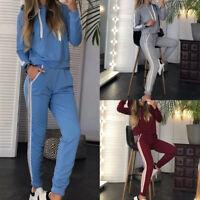 Femme Rayures Sweats à Capuche +Fitness Poches Pantalons Survêtement Ensemble