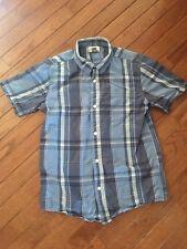 Old Navy ~ Boy's Blue Plaid Short Sleeve Button Down Shirt ~ L