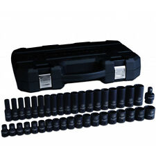 """GearWrench 84948N 39 Pc 1/2"""" Dr 6 Pt Metric Shallow and Deep Impact Socket Set"""