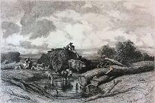 Passage du gué d'après Jules Dupré (1811-1889) Barbizon Lithographie vers 1841