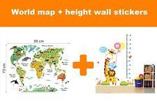 2 Kid's Wall Sticker Jungle Height Growth Chart Animal World Map