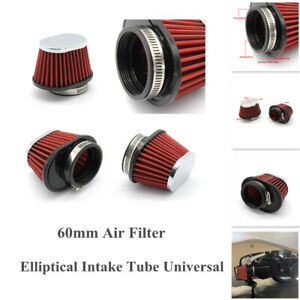 60mm Air Filter Pod Cleaner ATV Bike Carburetor Elliptical Intake Tube Universal
