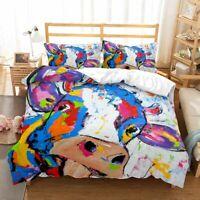 3D Lovely Cow Bedding Set Doona Comforter Cover Duvet Cover Pillow Case King